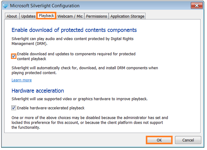 Microsoft Silverlight Configuration - Protected Content Playback - WindowsWally