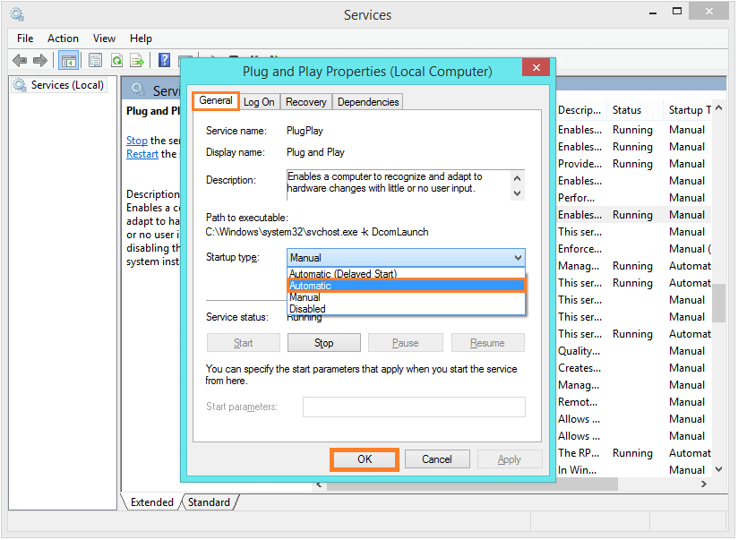 Empty Device Manager - Control Panel - Administrative Tools - Plug and Play - General - Automatic -- Windows Wally