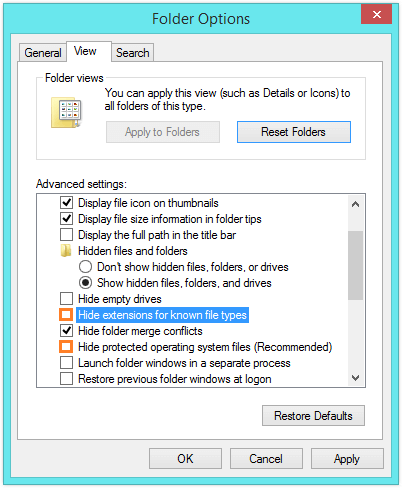 Explorer.exe - Hide extensions for known file types - Hide protected operating system files -- Windows Wally