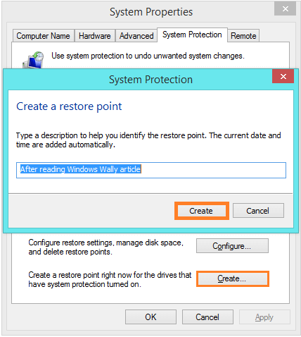 System Restore - System Protection - Creating Restore Point -- Windows Wally