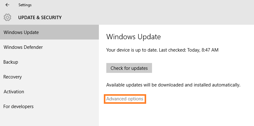 Windows 10 - Automatic Updates - Update & Security - Windows Update - Advanced options -- Windows Wally