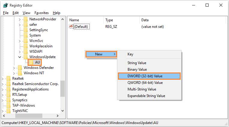 Windows 10 - Automatic Updates - regedit - goto address - AU - DWORD -- Windows Wally