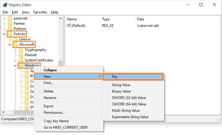 Windows 10 - Automatic Updates - regedit - goto address - new key -- Windows Wally