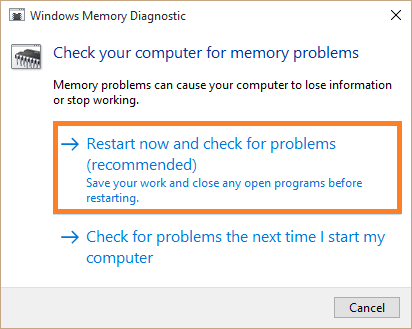 Diagnostic Scan - Windows memory diagnostic tool - mdsched -- Windows Wally