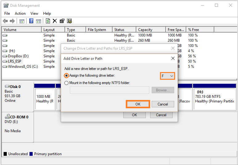 Windows 10 - Disk managment - Right-click - Change Drive Letter and Paths... - Add - OK - WindowsWally