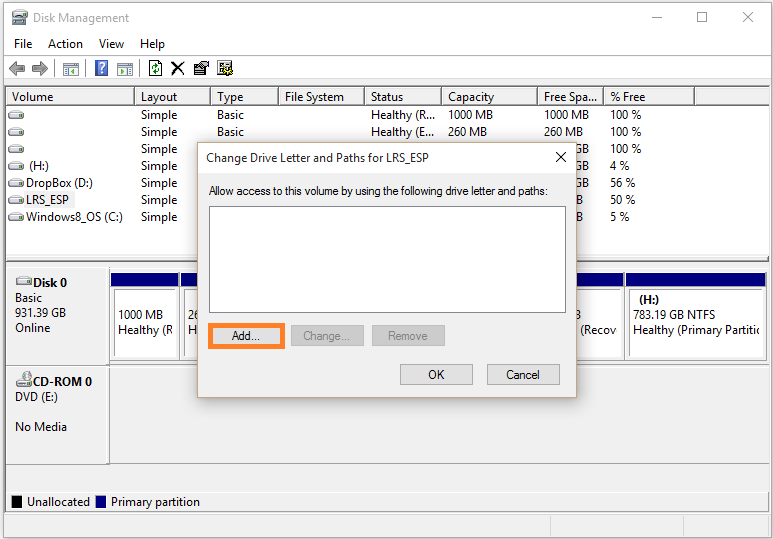 Windows 10 - Disk managment - Right-click - Change Drive Letter and Paths... - Add - WindowsWally