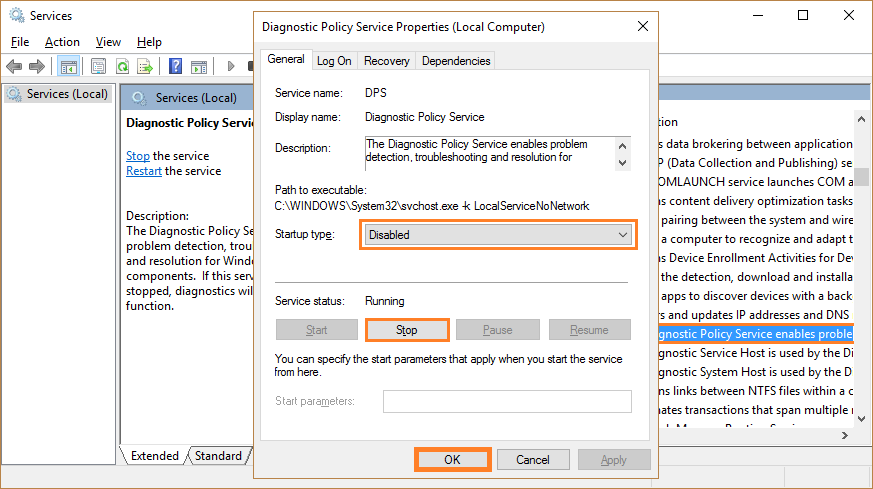 Windows Telemetry service - Services - Diagnostic Policy Service - Stop - Windows Wally