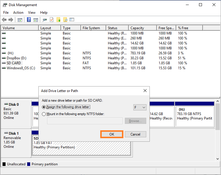 Disk manager -- format SD card - 8 - Windows Wally